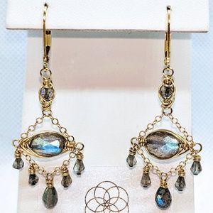 Labradorite & 14 kt yellow gold filled earrings
